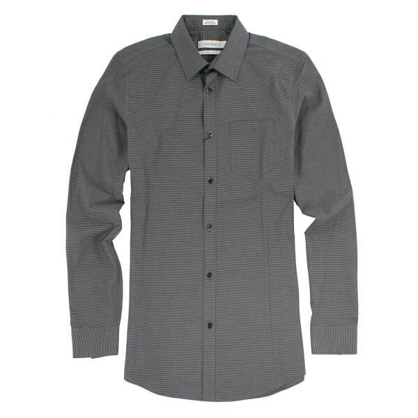 美國百分百【全新真品】Calvin Klein 襯衫 CK 男衣 長袖 上班 休閒 合身 條紋 XS號 黑色 E232