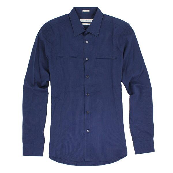 美國百分百【全新真品】Calvin Klein 襯衫 CK 男衣 長袖 上班 休閒 合身 口袋 條紋 XS M E240