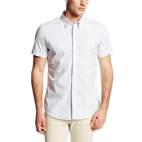 美國百分百【全新真品】Calvin Klein 襯衫 CK 男衣 短袖 上班 休閒 合身 灰 格紋 XS XL E243