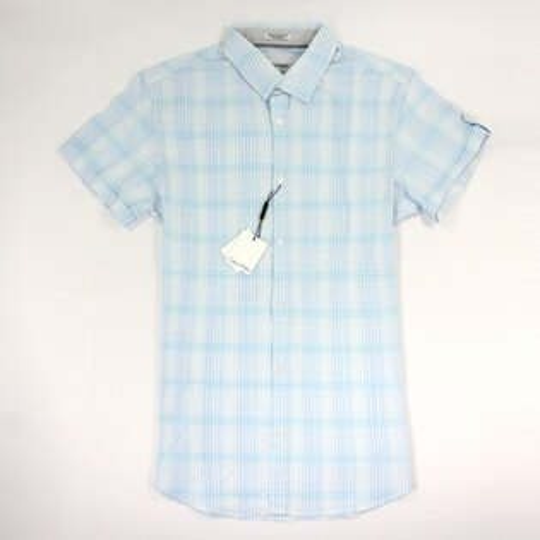 美國百分百【全新真品】Calvin Klein 襯衫 CK 男衣 短袖 上班 休閒 格紋 天空藍色 S XL號 E250