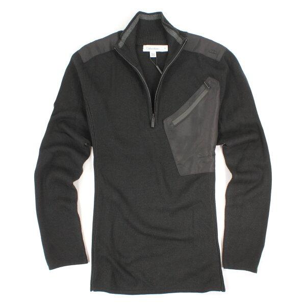 美國百分百【全新真品】Calvin Klein 針織衫 CK 棉質 毛衣 線衫 黑 立領 半拉 口袋 男 M號 E270