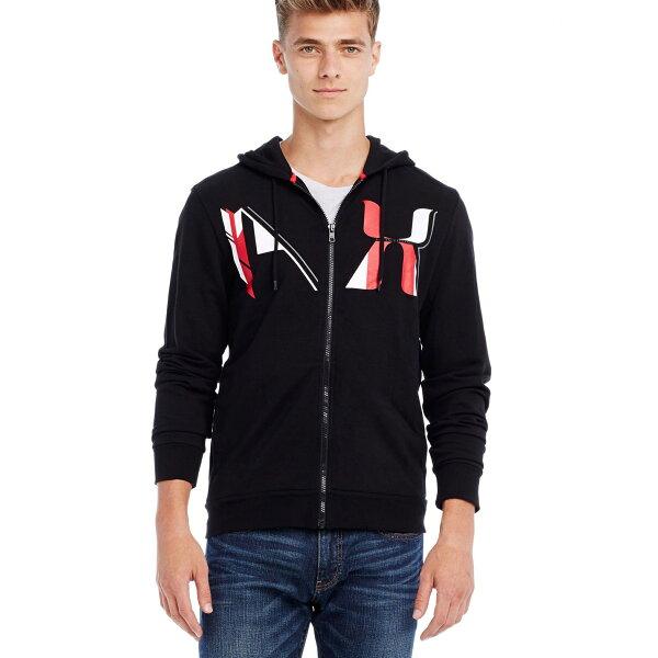 美國百分百【全新真品】Armani Exchange 外套 AX 長袖 連帽 帽T logo 文字 黑色 M號 E276