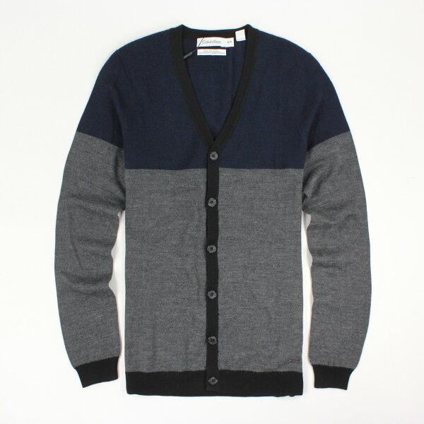 美國百分百【全新真品】Calvin Klein 外套 CK 上衣 針織 夾克 V領 灰藍 純棉 柔軟 S XS E301