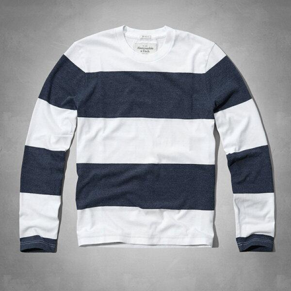 美國百分百【Abercrombie & Fitch】T恤 AF 長袖 T-shirt 麋鹿 條紋 S M 白藍 E323