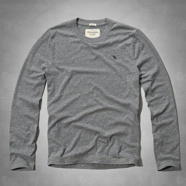 美國百分百【Abercrombie & Fitch】T恤 AF 長 shirt 麋鹿 素 S M L XL 灰 E325