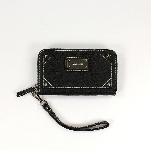 美國百分百【全新真品】NINE WEST 皮夾 小包 手拿包 外出包 長夾 隨身包 晚宴包 錢包 短夾 黑色 E347