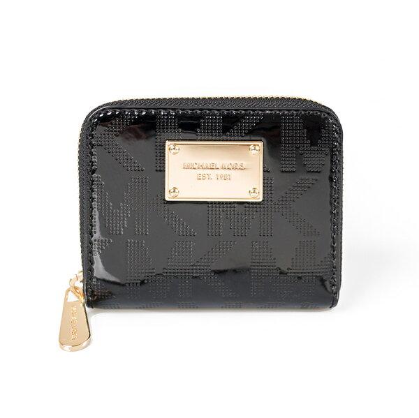 美國百分百【全新真品】Michael Kors 皮夾 小包 手拿包 隨身包 晚宴包 錢包 短夾 壓紋 漆皮 黑 E349