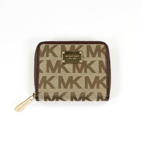 美國百分百【全新真品】Michael Kors 皮夾 小包 手拿包 隨身包 晚宴包 錢包 短夾 提花 LOGO E349