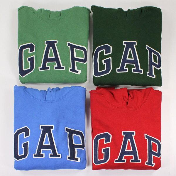 美國百分百【全新真品】GAP 帽T 上衣 外套 長袖 連帽 LOGO 貼布 現貨 男 M號 深綠色 E461