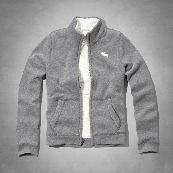 美國百分百【Abercrombie & Fitch】外套 AF 立領 灰色 夾克 麋鹿 刷毛 XS S 女 E473