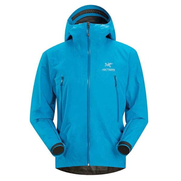 美國百分百【全新真品】Arc'teryx 外套 GORE-TEX 連帽 始祖鳥 防水 防風 透氣 男 藍 M號 E488