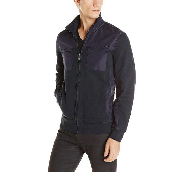 美國百分百【全新真品】Calvin Klein 外套 CK 夾克 立領 騎士 合身 口袋 深藍 男 M L號 E497
