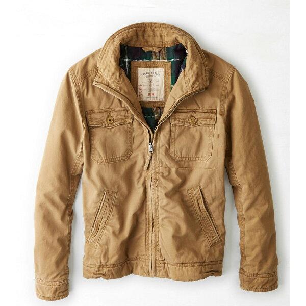 美國百分百【全新真品】American Eagle AE 老鷹 外套 軍外套 短大衣 夾克 男 駝色 S M E507