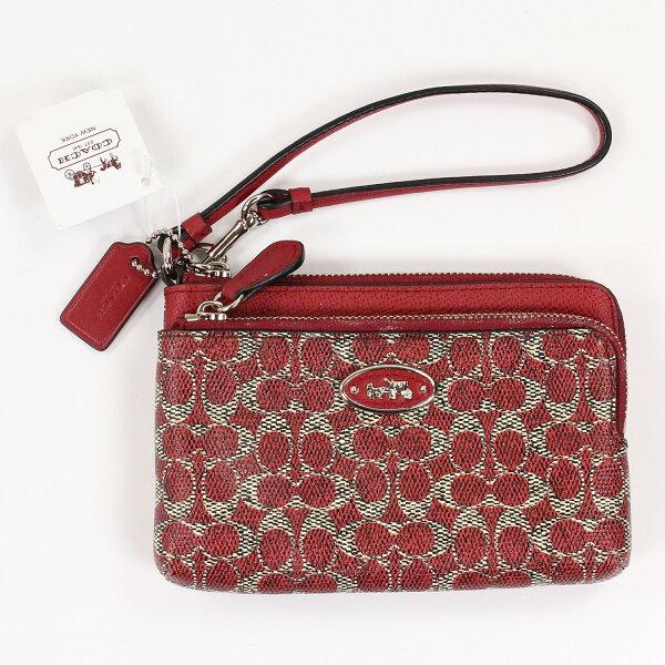 美國百分百【全新真品】COACH 手拿包 女包 宴會包 皮包 緹花 小包 手提包 扁包 精品 皮夾 零錢包 紅 E542
