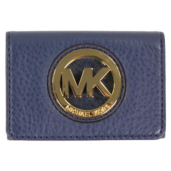 美國百分百【全新真品】MICHAEL KORS 女包 皮包 皮質 小包 手提包 扁包 精品 皮夾 零錢包 藍 E543