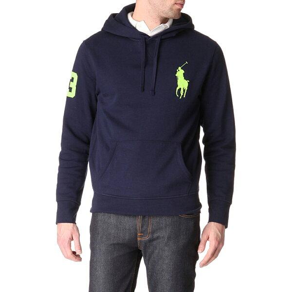 美國百分百【全新真品】Ralph Lauren 帽T RL 連帽T恤 外套 長袖 Polo 大馬 深藍 S 男 A444