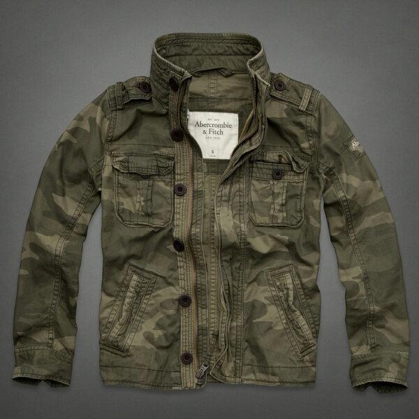美國百分百【Abercrombie & Fitch】AF 麋鹿 綠 長袖 外套 夾克 立領 S M 迷彩 騎士 E645