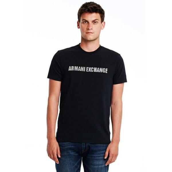 美國百分百【全新真品】Armani Exchange T恤 AX 短袖 文字 上衣 T-shirt 黑色 XL E678
