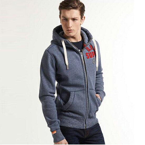美國百分百【全新真品】Superdry 極度乾燥 風衣 連帽 絨 外套 防風 夾克 帽T 刷毛 2XL 藍灰 E690