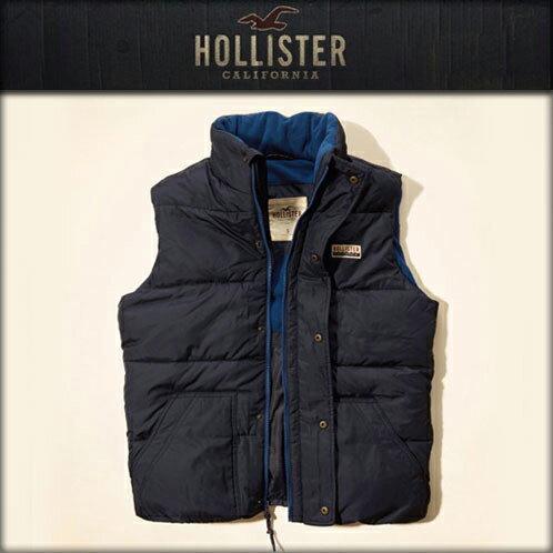 美國百分百【全新真品】Hollister Co. HCO 男 海鷗 背心 鋪棉 外套 無袖 刷毛 深藍色 M號 E703