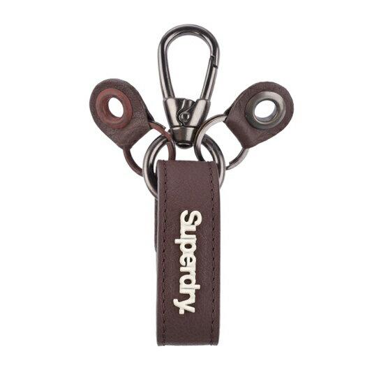 美國百分百【全新真品】Superdry 極度乾燥 鑰匙圈 配件 皮革 吊飾 飾品 咖啡 鑰匙環 鎖環 鎖匙圈 鑰匙扣