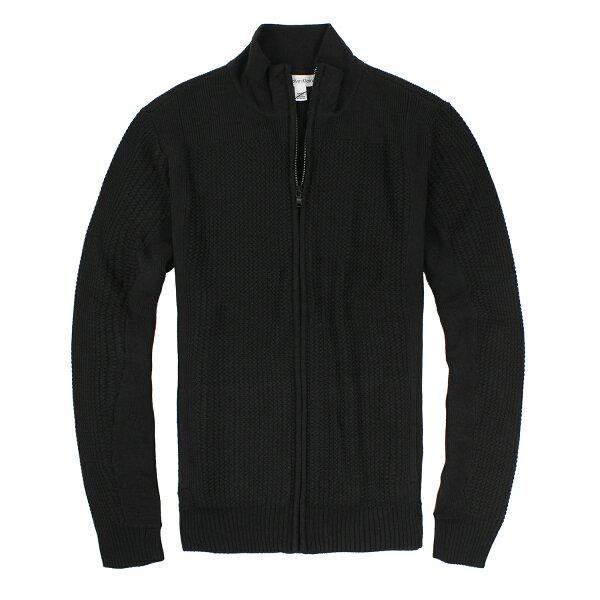 美國百分百【全新真品】Calvin Klein 針織衫 CK 外套 毛衣 線衫 黑色 立領 男 S號 E775