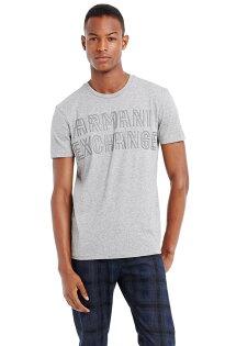 美國百分百【Armani Exchange】T恤 AX 短袖 上衣 logo 亮粉 T-shirt 灰 XS E809