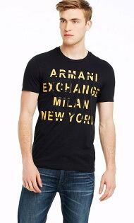 美國百分百【Armani Exchange】T恤 AX 短袖 logo 文字 T-shirt 深藍 S M號 E827
