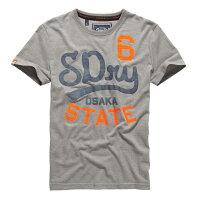 Superdry極度乾燥商品推薦美國百分百【Superdry】極度乾燥 T恤 上衣 T-shirt 短袖 短T 水洗 圓領 灰色 復古 大尺碼 E830
