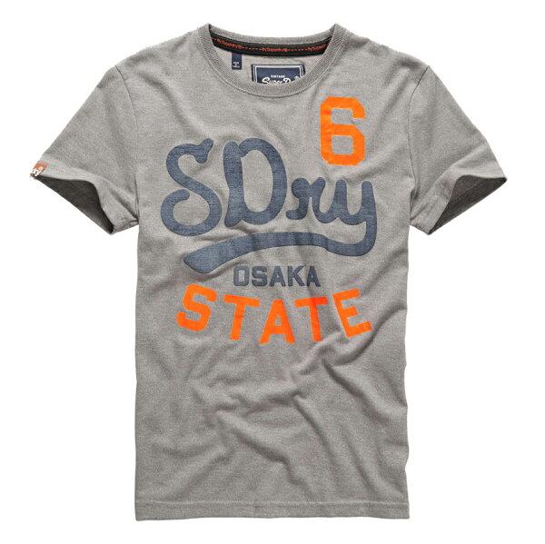 美國百分百【Superdry】極度乾燥 T恤 上衣 T-shirt 短袖 短T 水洗 圓領 灰色 復古 大尺碼 E830