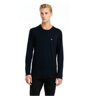 美國百分百【Armani Exchange】T恤 AX 長袖 logo 紐扣 上衣 T-shirt 深藍 M號 E834