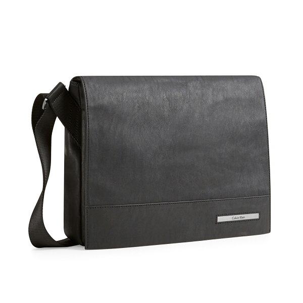 美國百分百【全新真品】Calvin Klein 公事包 CK 電腦包 郵差包 肩背包 皮質 上課 商務 黑色 E867