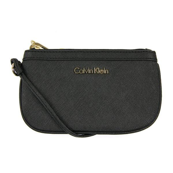 美國百分百【全新真品】Calvin Klein 手拿包 CK 女包 零錢包 黑色 提包 鍊包 晚宴小方包 皮質 A691