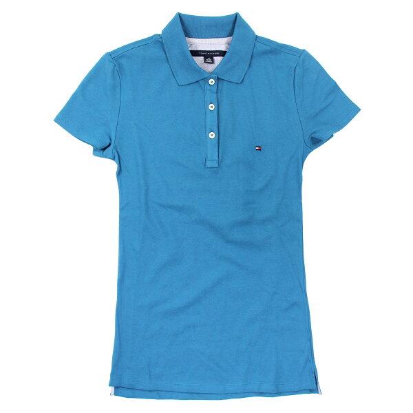 美國百分百【Tommy Hilfiger】POLO衫 TH 女衣 網眼 短袖 青藍色 腰身 顯瘦 純棉 XS號 B102
