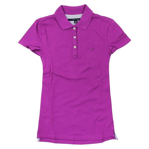 美國百分百【Tommy Hilfiger】POLO衫 TH 女衣 網眼 短袖 紫紅色 腰身 顯瘦 純棉 XS號 B102