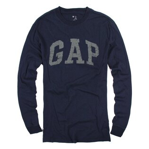 美國百分百【全新真品】GAP T恤 T-SHIRT 長袖 上衣 LOGO 圓領 深藍色 純棉 XS M號 男 E935