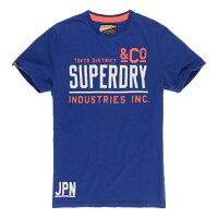 Superdry極度乾燥商品推薦美國百分百【Superdry】極度乾燥 T恤 上衣 T-shirt 短袖 短T 圓領 寶藍 復古 L號 E937