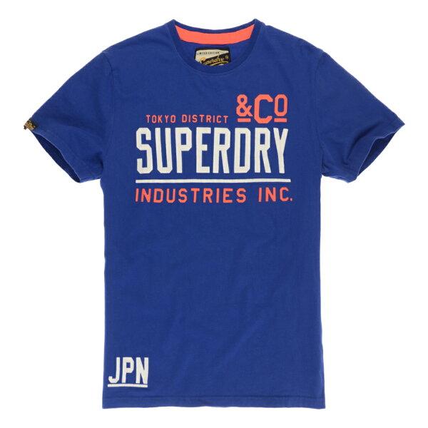 美國百分百【Superdry】極度乾燥 T恤 上衣 T-shirt 短袖 短T 圓領 寶藍 復古 L號 E937
