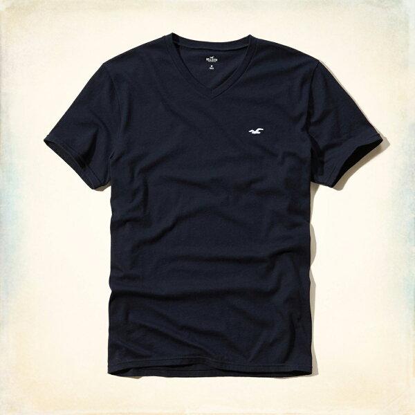 美國百分百【Hollister Co.】T恤 HCO 短袖 T-shirt 海鷗 深藍色 素T logo V領 S M L號 E956