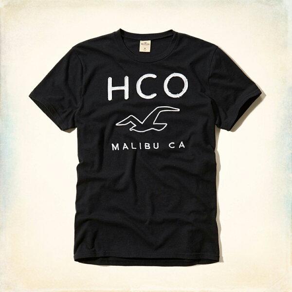 美國百分百【Hollister Co.】T恤 HCO 短袖 T-shirt 海鷗 黑色 logo 文字 S L E966