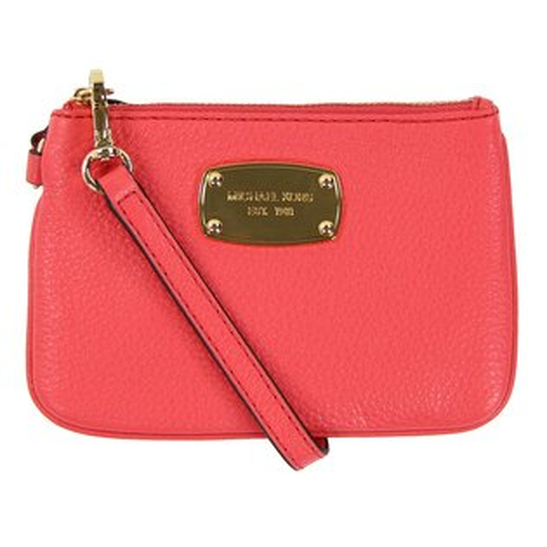 美國百分百【全新真品】MICHAEL KORS 手拿包 MK 手提包 錢包 手機包 皮包 粉紅色 真皮 女包 F096