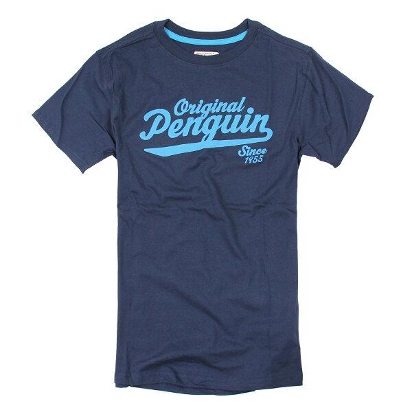 美國百分百【Penguin by Munsingwear】企鵝 男 T-shirt 藏藍 T恤 短袖 XL F005