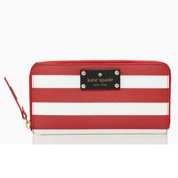 美國百分百【kate spade】長夾 女 皮包 皮質 小包 手機包 手提包 扁包 皮夾 漆皮 條紋 紅 白色 F098