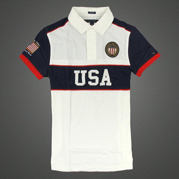 美國百分百【Tommy Hilfiger】Polo衫 TH 短袖 網眼 上衣 徽章 USA 白色 深藍 S號 F140