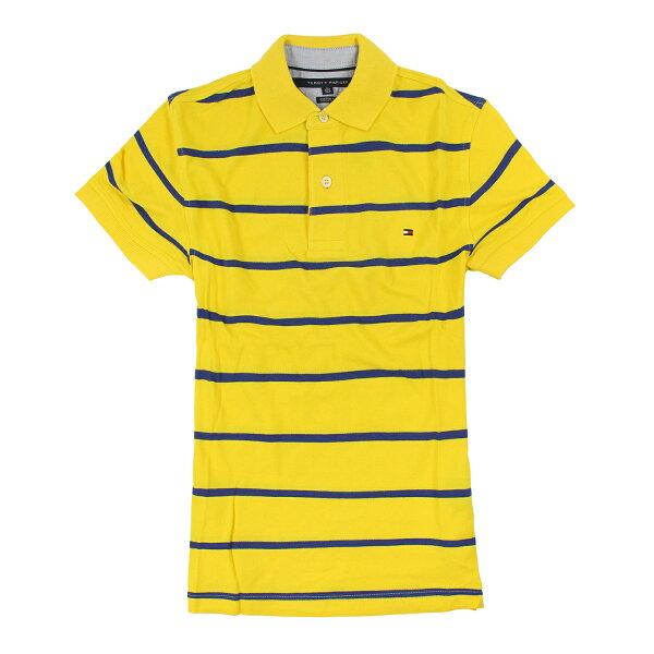 美國百分百【Tommy Hilfiger】Polo衫 TH 短袖 網眼 上衣 條紋 黃色 藍色 XXS號 F190
