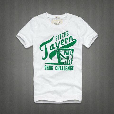 美國百分百【全新真品】Abercrombie & Fitch T恤 AF 男T 麋鹿 白色 短袖 T-shirt 男衣 大尺碼 XXL號