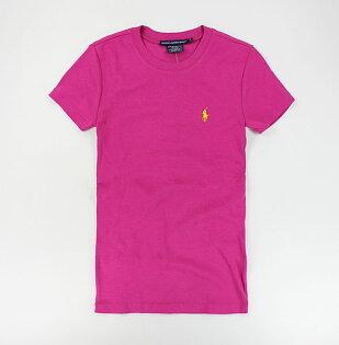 美國百分百【全新真品】Ralph Lauren Sport RL polo 女T 圓領 素T 彈性 短T恤 T-shirt 桃紅 S M L XL號
