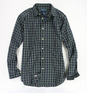 美國百分百【全新真品】Ralph Lauren RL polo 深色 綠 格紋 長袖 襯衫 男 上衣 XS號 超取 a