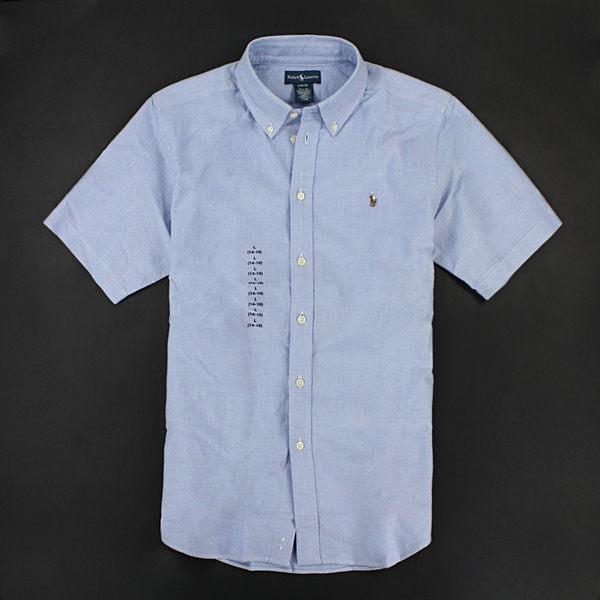 美國百分百【全新真品】Ralph Lauren Polo 牛津布 質感 男 短袖 襯衫 素面 藍色 XS S號 RL 人氣 y