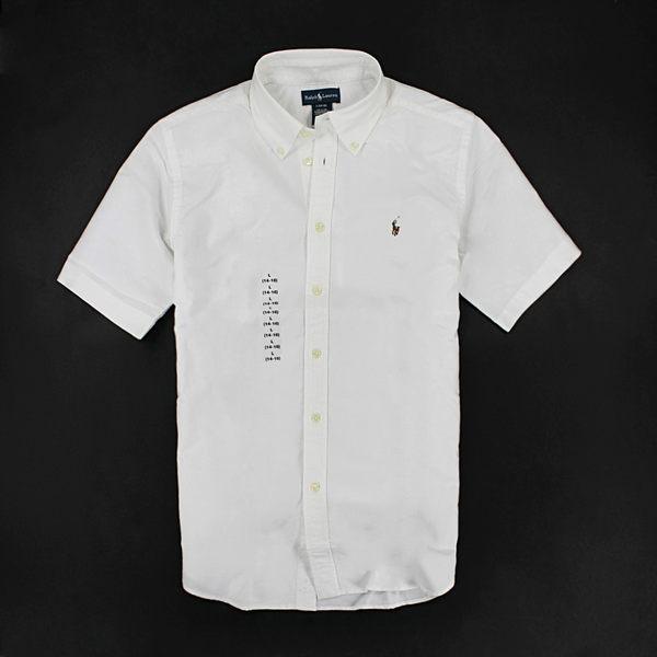 美國百分百【全新真品】Ralph Lauren Polo 牛津布 男 短袖 襯衫 經典百搭 白色 XS S號 RL y